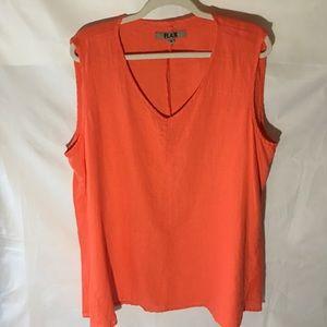 FLAX orange 100% linen tank midi dress SIZE:large